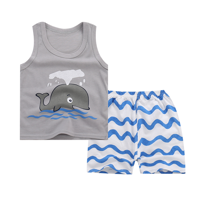 Baby Boys Clothing Children Clothes Vest + Shorts  Kids Set whale Clothes Casual Suits 2pcs Design Summer Style