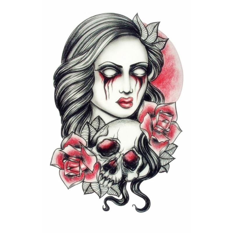 102470d6e للماء المؤقتة الوشم ملصق للفن الجسم الجمال ماكياج الوردي مثير خطير مثير  الجمجمة و مخيف سيدة ملصق وشم جسم