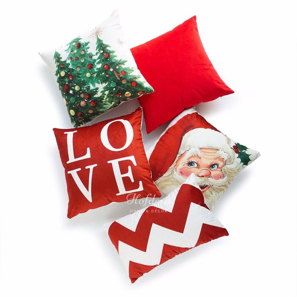 Weihnachten Kissen Fall Vintage Baum Weihnachtsmann Liebes Script ...