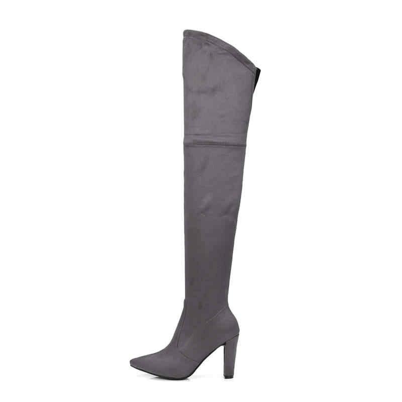 MORAZORA 2020 ใหม่แฟชั่นรองเท้าผู้หญิง pointed toe ตุ๊กตาสั้นฤดูใบไม้ร่วง flock zipper ส้นสูงบูทเหนือเข่าสีดำ