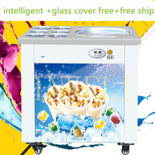 free ship R410 automatic fried ice cream machine,double pan Fried ice pan machine, single compressor fry ice pan machine