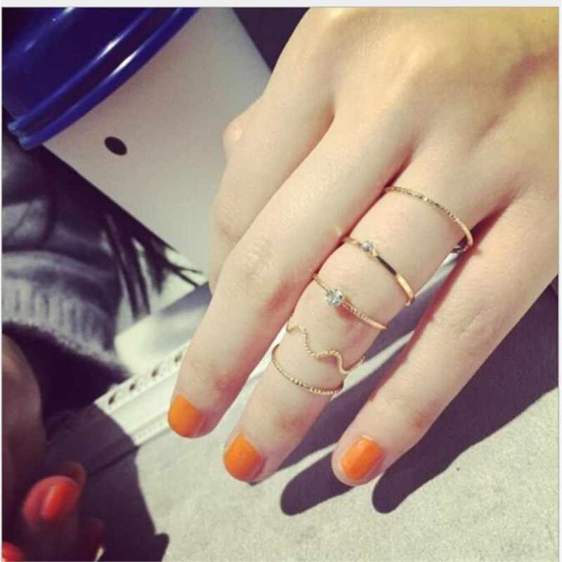 The new wave of five-piece suit personality fashion ring 5 sets of fine index finger joint rings for women 8CRD159