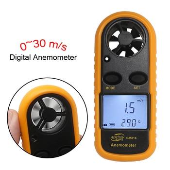 GM816 Digital Anemometer Angin Speed Meter Anemometro Suhu Air Gauge 30 m/s-10 ~ 45C LCD Backlight Display Genggam