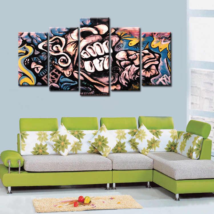 5 шт. Лидер продаж абстрактные граффити плакат стены Книги по искусству картина современного украшения дома Гостиная или Спальня печати на холсте, живопись