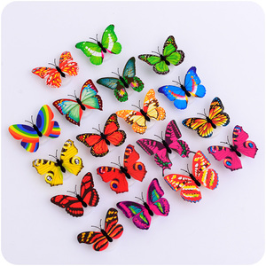 Image 5 - 5pcs Luminous Butterfly lamp Night light Flashing Colorful wall lamp chuck and stickers Indoor lighting party supplies