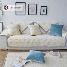 Liv-Esthete Luxury Velvet Sofa Cover Euro Nordic Living Room Corner Single Double Sizes Combination Slipcovers