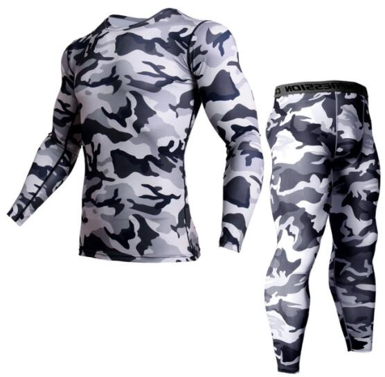 Camouflage T-shirt Mens Running Compression Set Sport Shirt Men Dry Fit Breathable Rashgard Man Suits Gym Fitness Tights MMA
