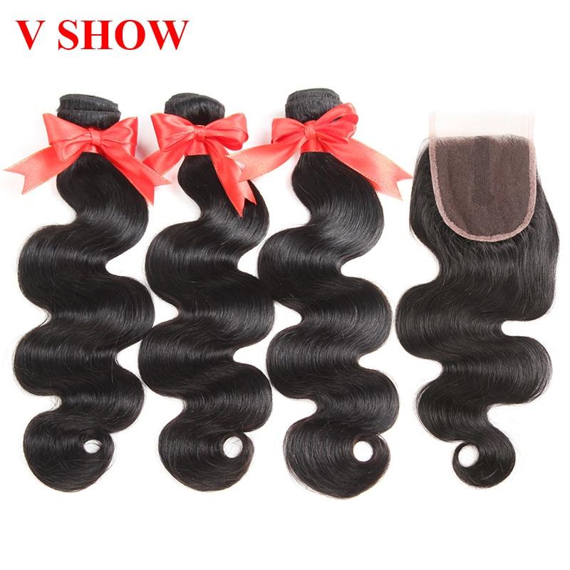 Brazilian Body Wave With Closure 3 Bundles Human Hair Bundles With - Human Hair (For Black)