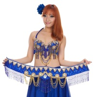 Women Fashion Belly Dance Dress Set Skirt+Belt+Bra Stage Performance Party Wedding Suit Evening Dresses Dancewear Red Blue