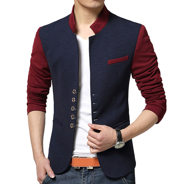 39ba6b0ceeb94 2016 New Arrival Casual Blazer Men Contrast Color Slim Fit Suits For Male Stand  Collar Jackets Size M-2XL Costume Homme MWX252