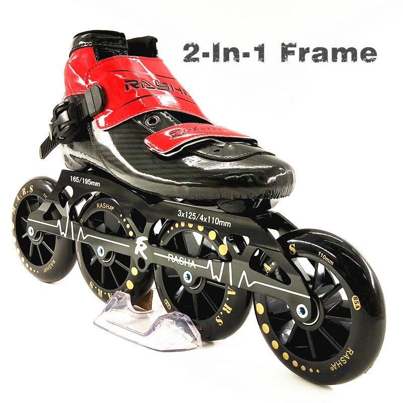 RASHA SKATE 3 ou 4 roues chaussures de patinage de vitesse en ligne patins de vitesse noir patins de course à roulettes bottes hommes/femmes patins en ligne