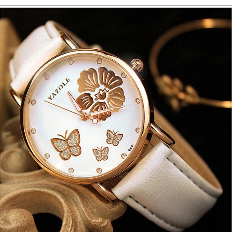 Top Brand YAZOLE Fashion Butterfly Rose Gold Watch Women Watches Luxury Rhinestone Quartz Watch Hour Montre Femme Reloj Mujer