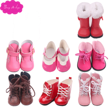 18 inch Girls doll shoes winter boot Martin American newborn shoe Baby toys fit 43 cm baby s21-s186