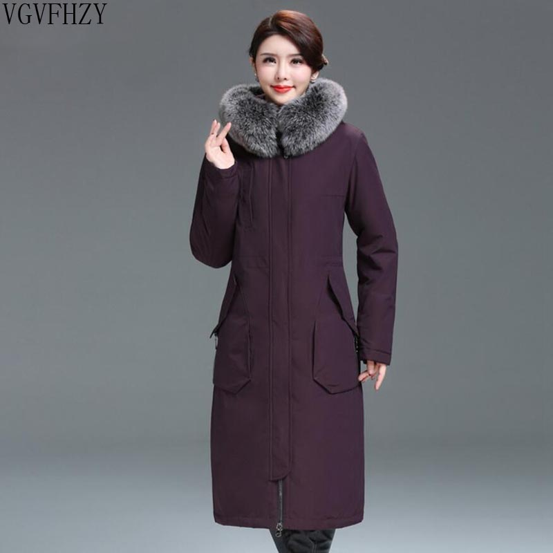 2018 New winter jacket White duck down coat middle-aged women plus size 4XL hooded fur collar thick down jacket female Outerwear