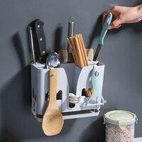 متعددة الوظائف استنزاف قفص السكاكين صندوق تخزين عيدان الحائط أنبوب تجفيف رف سكين حامل حامل أدوات المائدة صندوق تخزين