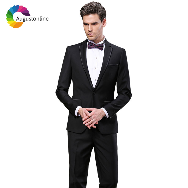 Tailored Formal Black Men Suit Regular Fit Wedding Groomsmen Groom Tuxedo Best Man Blazer Jacket Pants 2Piece Costume Homme