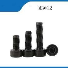 100 шт./лот Метрическая резьба DIN912 M3x12 черный класс 12,9 легированная сталь Шестигранная головка болты из нержавеющей стали, гвозди