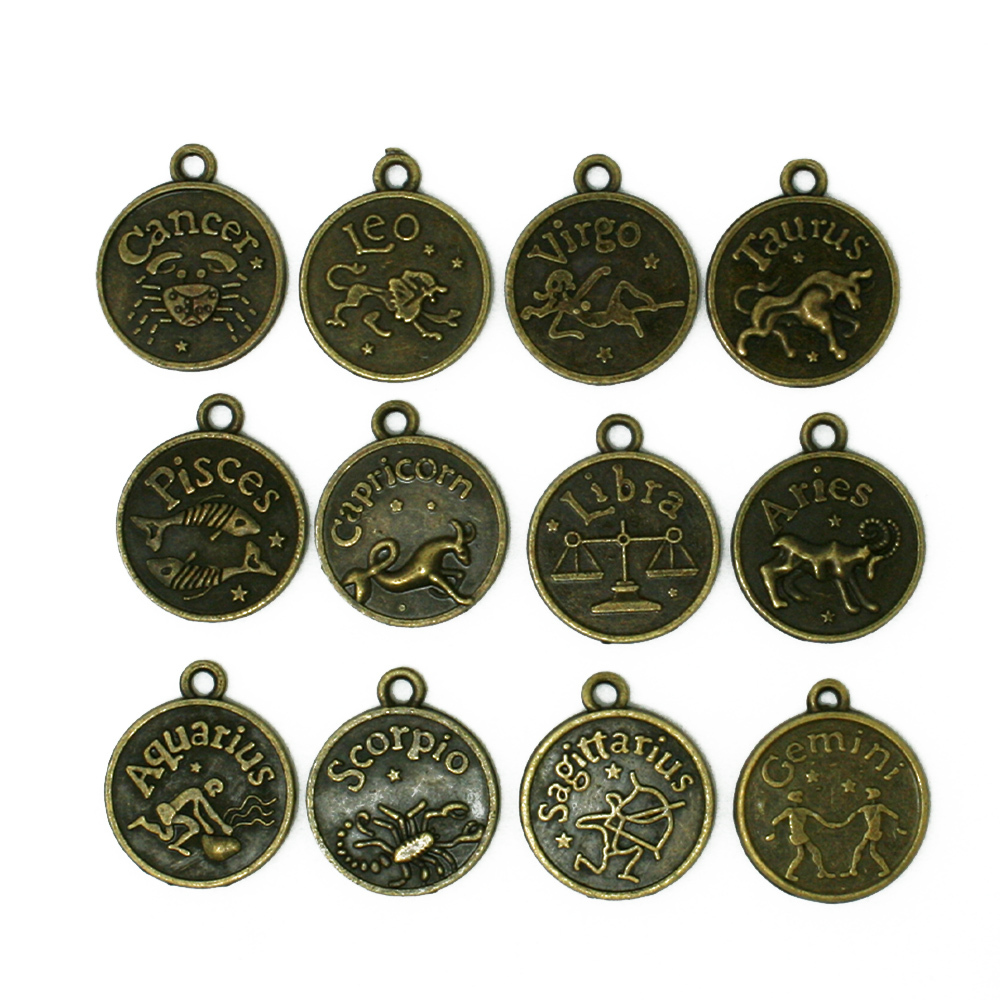 Aliexpress Com Buy 12 Zodiac Signs Constellation: Metal Charms 12pcs/lot Round 12 Constellation Signs Of