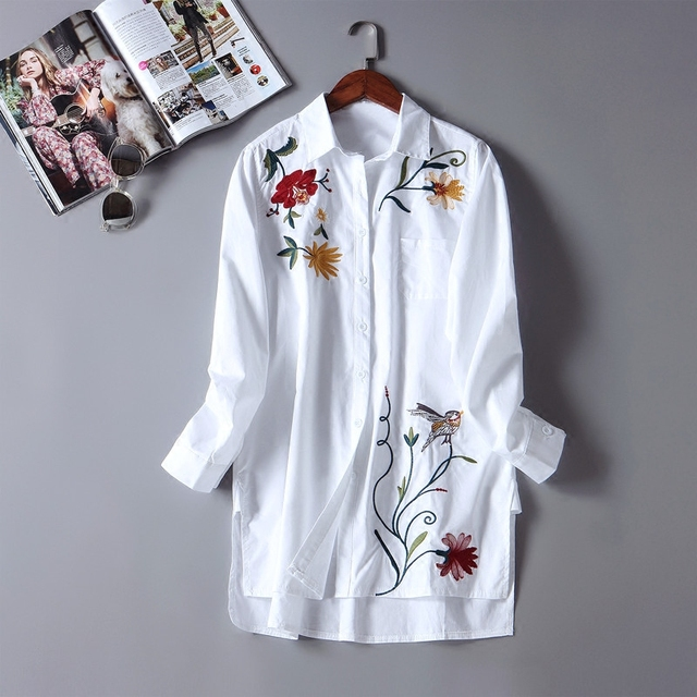 2017 Spring New Arrival Women Casual Broadcloth Embroidery Floral Long Shirt Female Fashion All-match Turn-down Collar Blouse