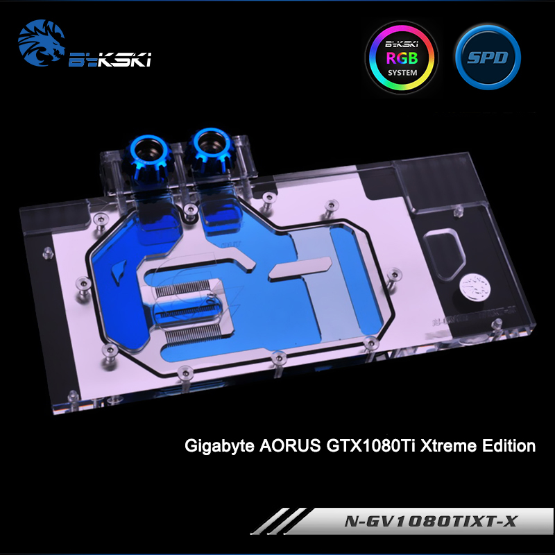 Bykski N-GV1080TIXT-X Full Cover Graphics Card Water Cooling Block RGB/RBW/ARUA for Gigabyte AORUS GTX1080Ti Xtreme Edition bykski n ev1080 x vga water cooling block for evga gtx 1080