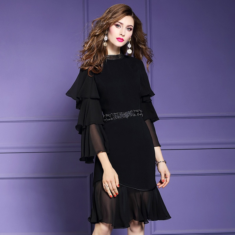 Spring 2019 new Flare Sleeve Office Lady Chiffon dress Women sexy Party Dress black Plus Size High street Ruffles dresses summer-in Dresses from Women's Clothing    1
