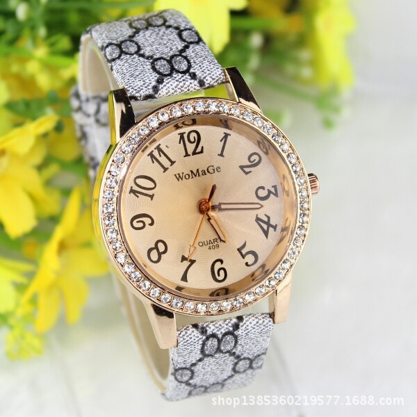 Ladies Fashion Brand Quartz Watch Women Rhinestone PU Leather Casual Dress Wrist Watches Crystal relojes mujer 2016 montre femme tezer ladies fashion quartz watch women leather casual dress watches rose gold crystal relojes mujer montre femme ab2004