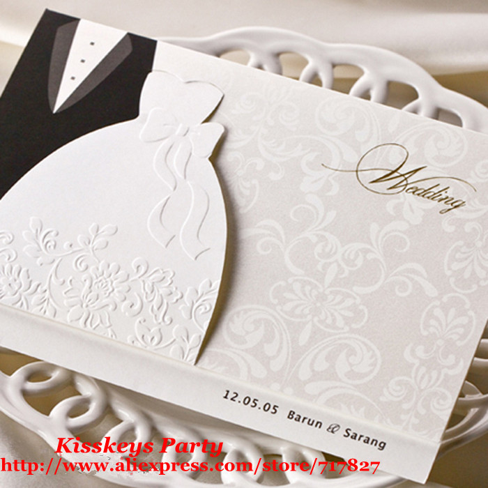100pcs/lot Free Shipping Customize Wedding Invitation Cards ...