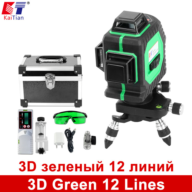 KaiTian 3D Green 12 Lines Laser Level 360 Rotary Self Leveling with Laser Detector and Tilt Slash Function Outdoor Laser Beam xgear 360 rotary desktop flexible neck clip holder for 3 5 6 3 cell phones white green 85cm