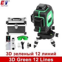 3D Verde 12 Líneas de Nivel Láser KaiTian 360 Rotary Auto Láser Detector de nivelación con Láser y Función de Inclinación Barra Al Aire Libre haz
