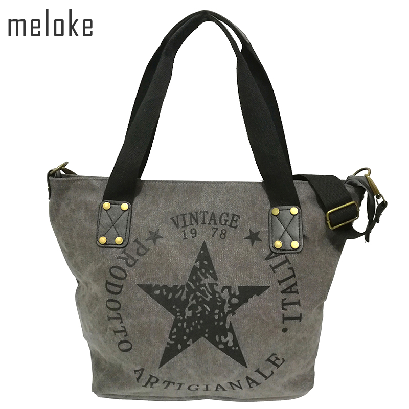 Meloke 2019 BIG STAR PRINTNING VINTAGE CANVAS SHOULDER BAGS Kvinnor Travel Tote Factory Outlet Plus Storlek Multifunktionella Bolsos