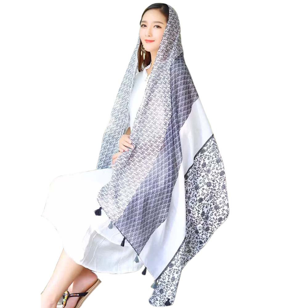 Luck dog WHOLESALE PRICE Autumn Winter Women Printing Cotton Sarong Wrap Shawl Style Scarves