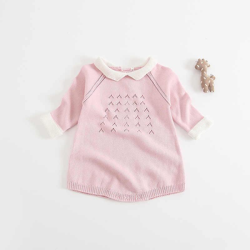 Высокое Качество, Модные трикотажные Детские ползунки милый стиль принцессы 0-24month новорожденных комбинезоны для девочек Спортивный костюм для малышей Детская одежда