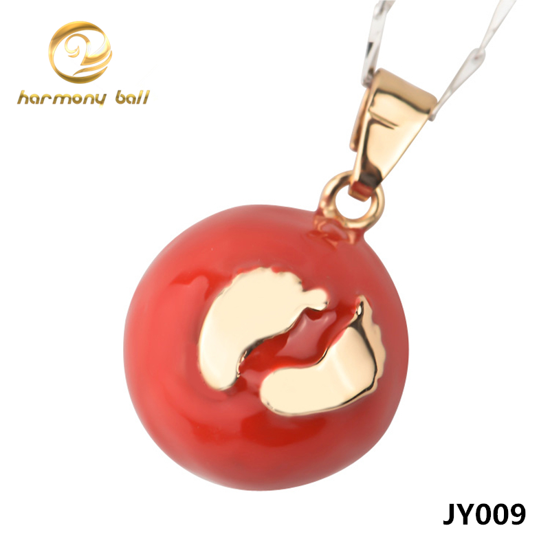 JY009 Wholesale Jewelry Foot Pendant 20MM Red Sealed Round Harmony Ball Angel Caller Pendant For font