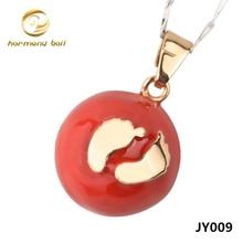 Jy009 joyería venta al por mayor Foot colgante 20 MM rojo sellado ronda bola de la armonía ángel de llamadas colgante para mujeres embarazadas