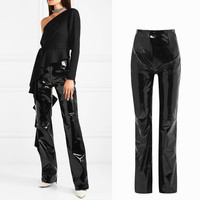 Fashion brand glossy patent water wash velvet PU leather pants female high waist shiny punk hip bag slim leather trousers wq208