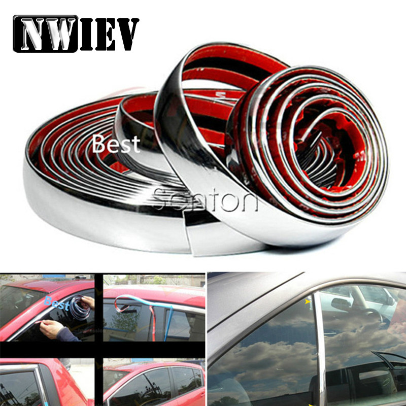 NWIEV Car Stickers <font><b>Chrome</b></font> Decor Strip For Nissan Qashqai Juke Almera Honda Accord Civic Fit CRV <font><b>Peugeot</b></font> 206 307 308 207 407 <font><b>208</b></font> image