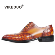 VIKEDUO Patina Brown Handmade Crocodile Leather Shoes Men Brogue Wedding Office Luxury Brand Man Footwear Square Toe Oxford Shoe