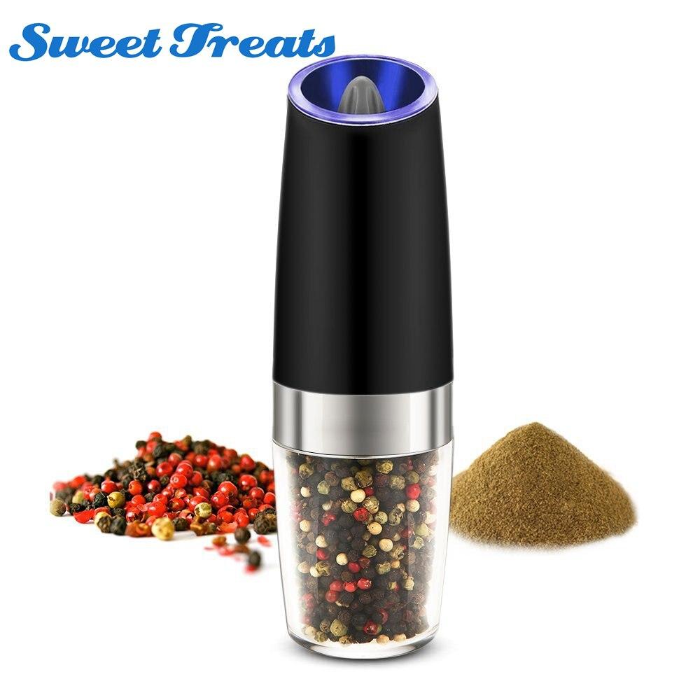 Automatic Electric Pepper Grinder LED Light Salt Pepper Grinding BottleFree Kitchen Seasoning Grind Tool Automatic Mills