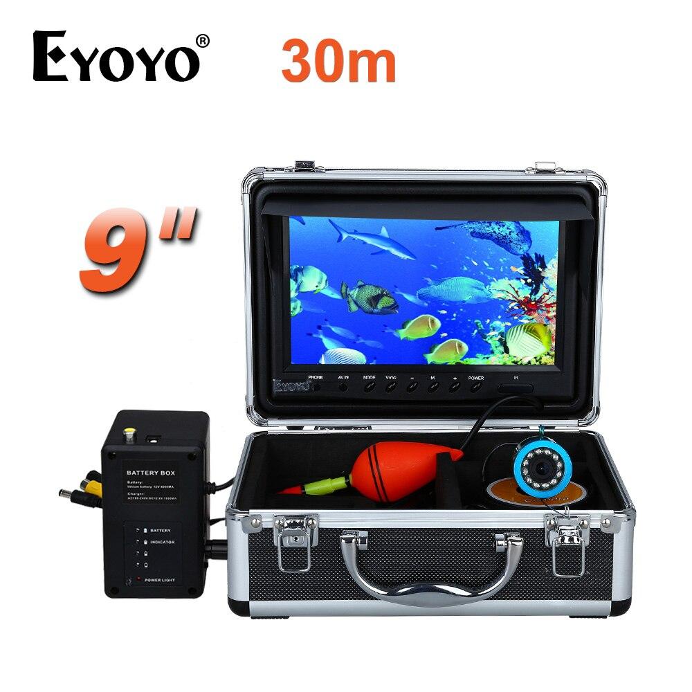 EYOYO 30 m 1000TVL HD Caméra de Pêche Sous-Marine Trouveur De Poissons 9 Grand Écran Blanc LED Réglable avec Cellule Boîte
