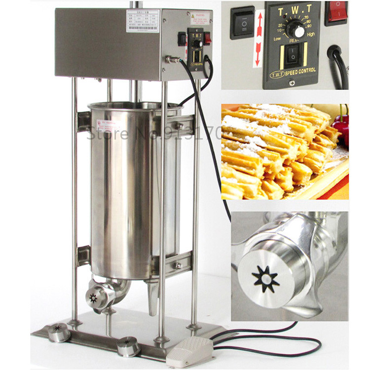 10L Automatic Electric Spainish Churro Machine stainless steel Commercial Churro Maker with 3 shape molds churro display warmer deluxe stainless steel churro showcase machine with heat food warmer and oil filter tray