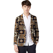 African clothing mens print blazers Ankara patterns slim fit suit jacket male casual men outer wear Plus Size