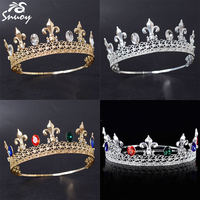 Snuoy Gold/Silver Metal King Crowns Adjustable Male Full Circle Tiaras with blue/green stone fleur de lis Men Hair Accessories