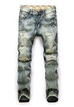 2017 Men'S Jeans Hole Men Hiphop Pants Straight Denim Trousers Casual Long Pants Patch Nostalgic Worn Men Tide Brand Jeans