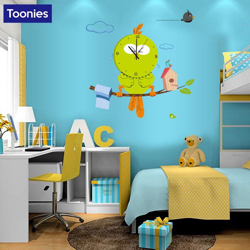 2017 Cute Cartoon Wall Clock Bird Bear Bee Annimal Wall Stickers For Kids Room Bedroom Decorations Art Zoo Children Wall Decal Aliexpress