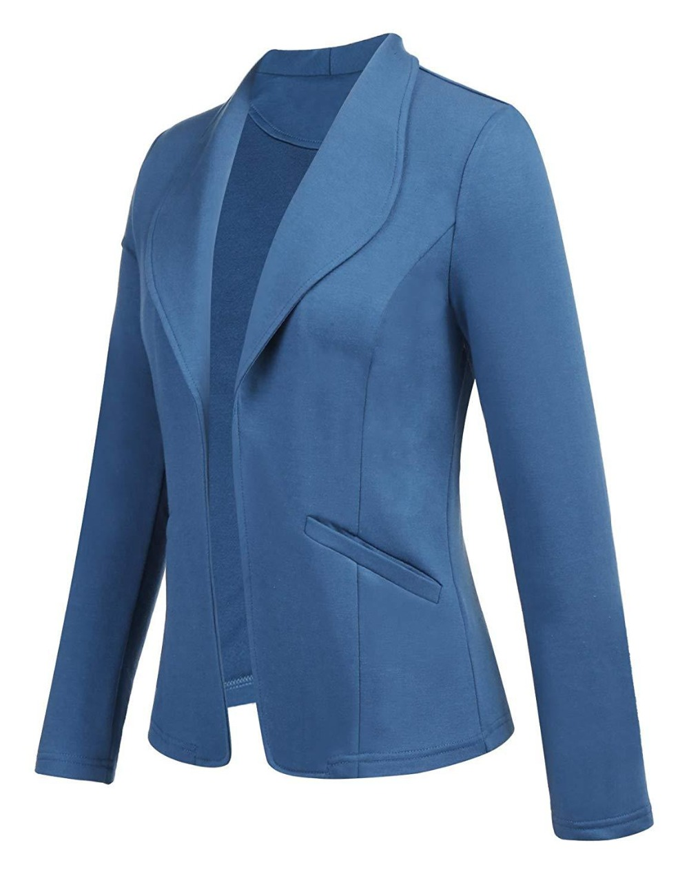 Women Suit Coat Long Sleeve Notched Neck Slim Blazers Office Lady Solid Color Cardigan Casual Work Outwear Suits Female