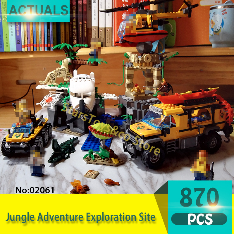 Lepin 02061 870Pcs City series Jungle Adventure Exploration Site Model Building Blocks Set Bricks Toys For Children lepin 02012 city deepwater exploration vessel 60095 building blocks policeman toys children compatible with lego gift kid sets