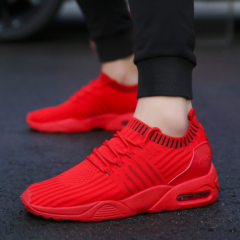 Trainers Flying Fabric Casual Shoes Men Shoes For Adult Breathable Comfortable Lace-up Male Casual Shoes Brand Fashion Air Sole