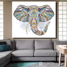 CHENFART Modern Canvas Oil Painting Abstract elephant Head Animal Decorative Paintings Wall Pictures for Living Room