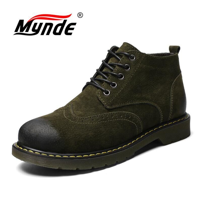Mynde Genuine Leather Men Boots Autumn Winter Fur Ankle Boots Fashion Footwear Lace Up Shoes Men High Quality Vintage Men Shoes genuine leather men boots autumn winter ankle boots fashion footwear lace up shoes men high quality vintage men shoes qy5