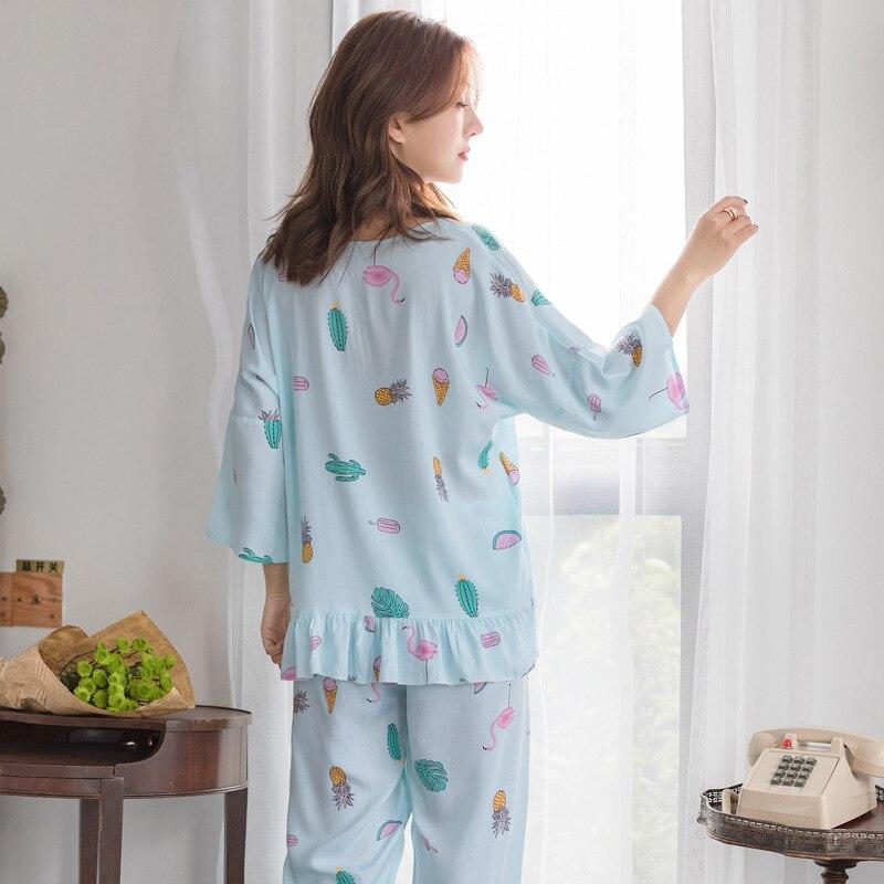 0bcfee7d3 Aliexpress.com  Comprar Pijama 2019 Primavera Verano nuevo INS pijamas de  las mujeres de la ropa interior de cuello redondo chándales de seda de  algodón ...